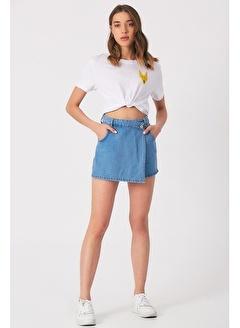 Gaydalı Giyim Kadın Koyu Mavi Denim kot Şort Asimetrik Kapamalı Fermuarlı Jeans Şort Etek / Bermuda